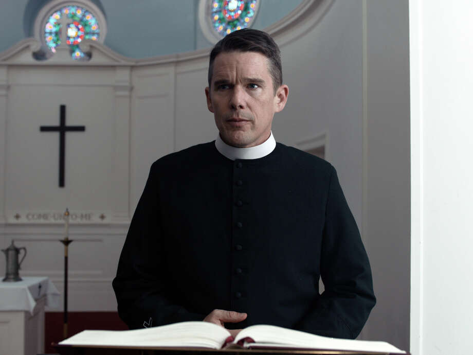 "This image released by A24 shows Ethan Hawke in a scene from ""First Reformed.""  (A24 via AP) / A24"