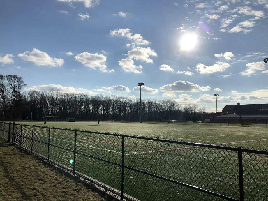 The turf fields at North Haven Middle School. Photo: Ben Lambert / Hearst Connecticut Media