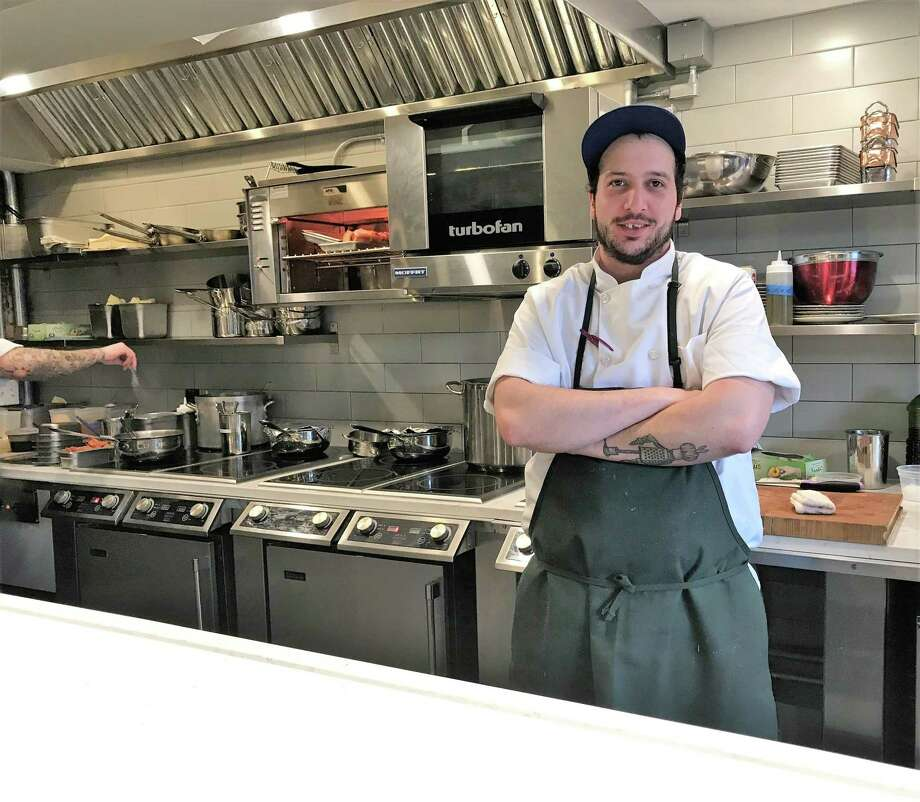 Olmo co-owner Alex Lishchynsky during a Wednesday dinner service. Photo: Brian Zahn / Hearst Connecticut Media