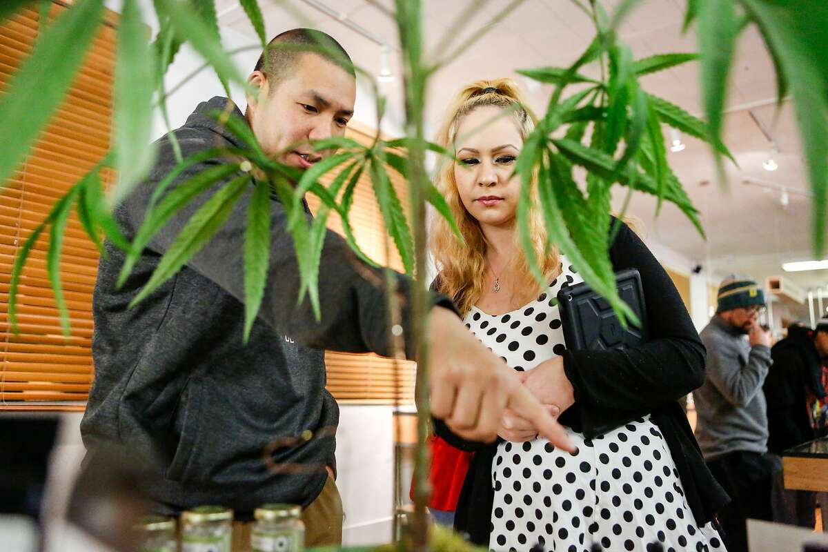 Jacob E. asks employee, Annah Lloyd, about the THC topicals at the Harborside Health Center on the first day of recreational marijuana sales in California on Monday, January 1, 2018 in Oakland, California.