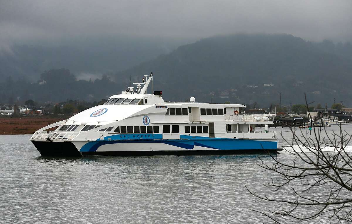 FILE - The Golden Gate Ferry boat Del Norte departs from the Larkspur Ferry Terminal in Larkspur, Calif. for a run to San Francisco on Wednesday, Dec. 5, 2018. Those heading to the San Francisco International Airport will now have a ferry option when looking to get to their flight.