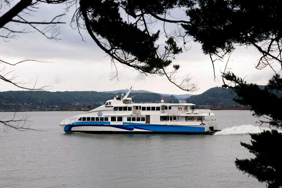 Ferries making the daily run from Larkspur to S.F. have seen a spike in passengers since faster boats began to ply the bay. Photo: Paul Chinn / The Chronicle