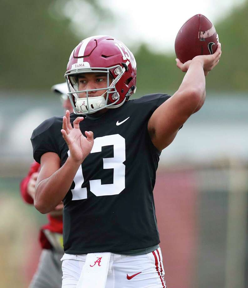 Alabama quarterback Tua Tagovailoa passes the ball during an NCAA college football practice on Wednesday, Dec. 26, 2018, in Miami Shores, Fla. Alabama plays Oklahoma in the Orange Bowl on Dec. 29. (AP Photo/Brynn Anderson) Photo: Brynn Anderson / Copyright 2018 The Associated Press. All rights reserved.