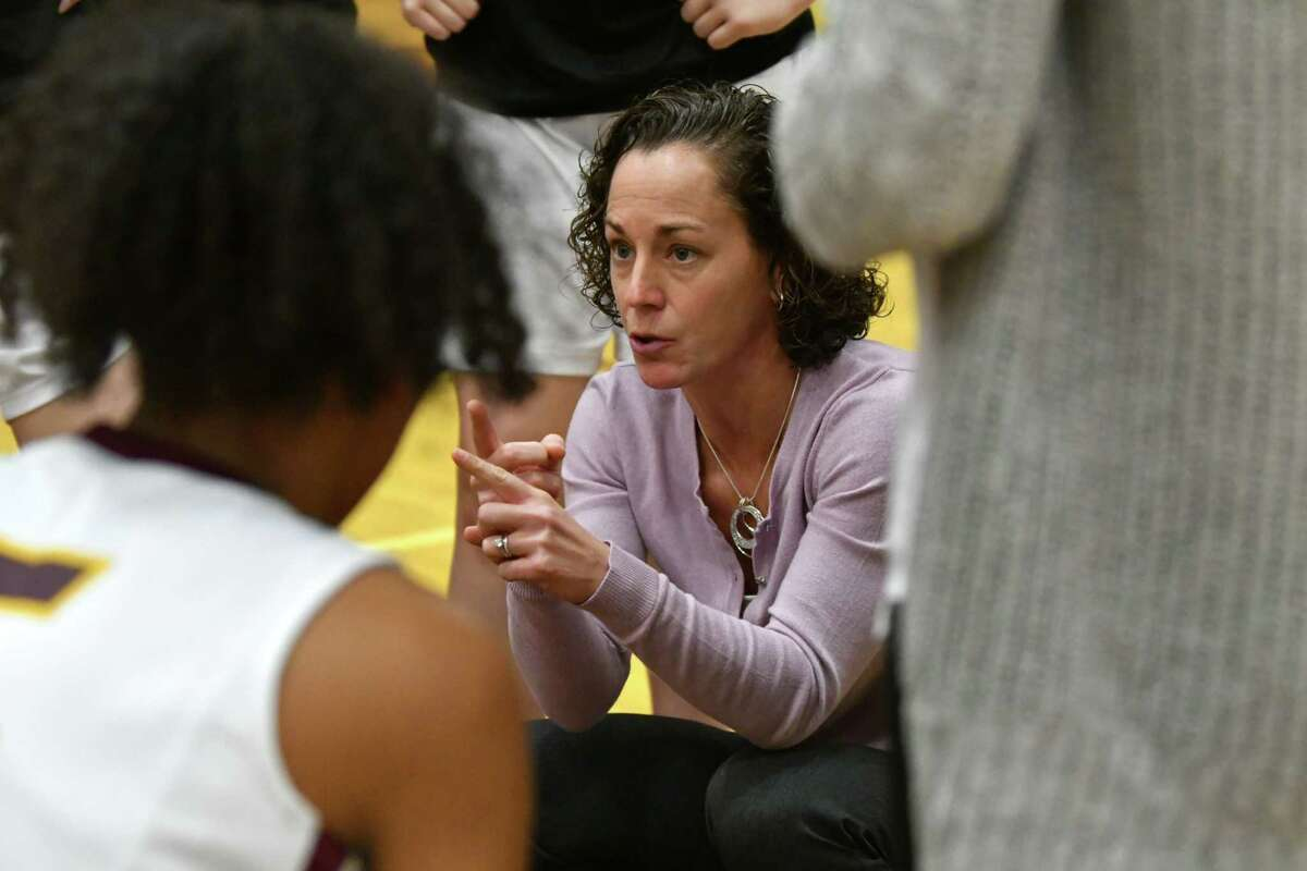 Colonie girls' basketball coach Heather DiBiase said her team members are excited about having a chance to play, pending a school board vote.(Lori Van Buren/Times Union archive)