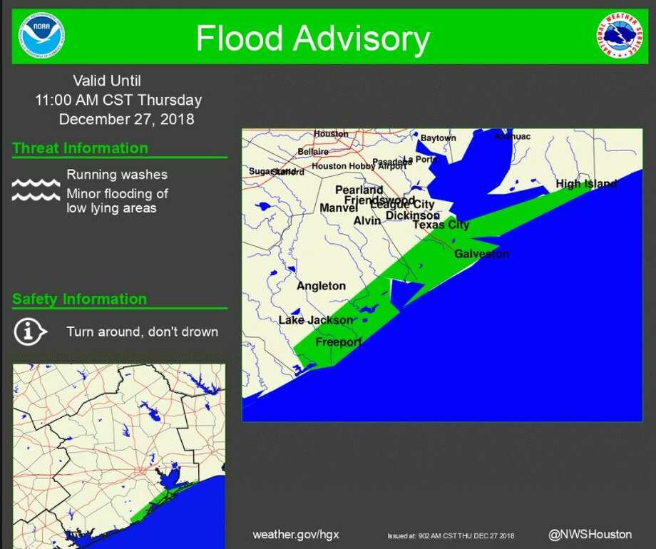 A flood advisory is in effect until 11 a.m. for the highlighted area. Photo: National Weather Service Houston/Galveston