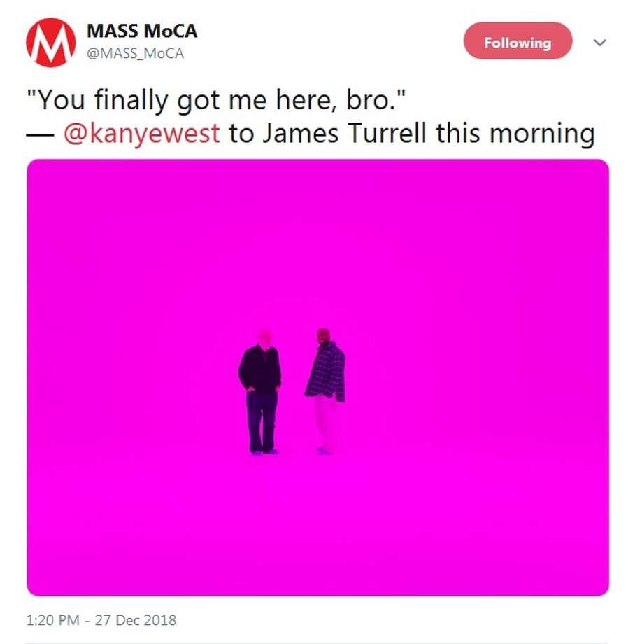 MASS MoCA's verified Twitter account sent this tweet featuring Kanye West on Dec. 27, 2018. (Screenshot, @MASS_MoCA on Twitter) Photo: Screenshot @MASS_MoCA