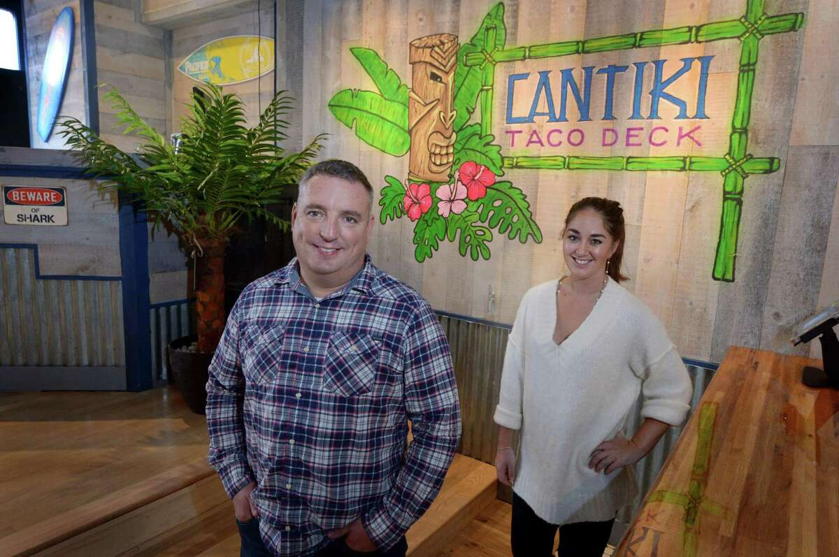 Cantiki Taco Deck operations manager Tom Ammerman and event coordinator Samantha Gordon in October 2018 at 80 Washington St. in Norwalk, Conn.