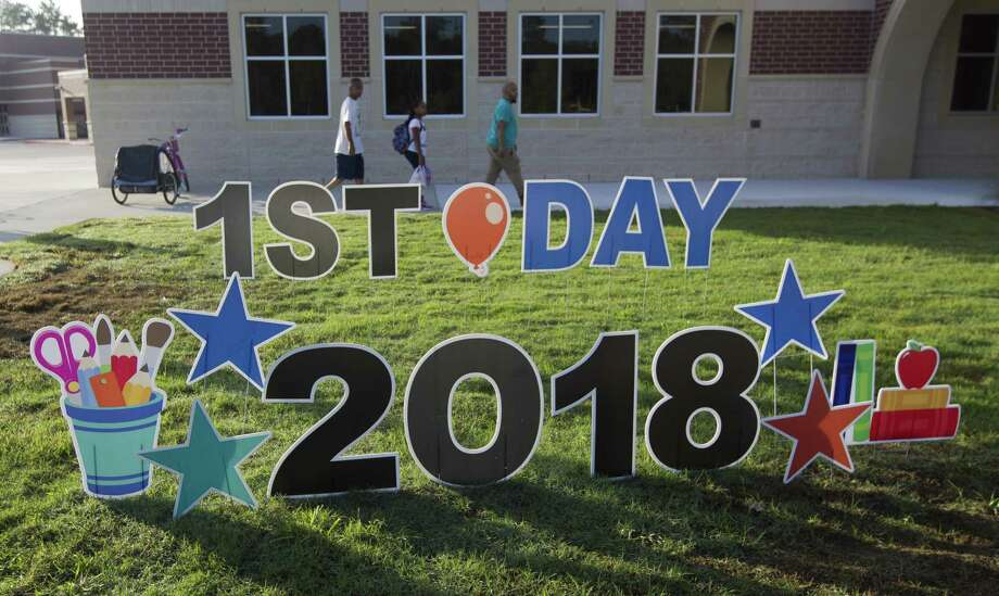 The Conroe Independent School District board of trustees is ramping up to put a potential $827.5 million bond referendum in front of voters this year. The election could be held Saturday, May 4. In this file photo, student head to class on the first day of school at Katherine Johnson Clark Intermediate on Wednesday, Aug. 15, 2018, in Spring. Photo: Jason Fochtman, Staff Photographer / Staff Photographer / © 2018 Houston Chronicle