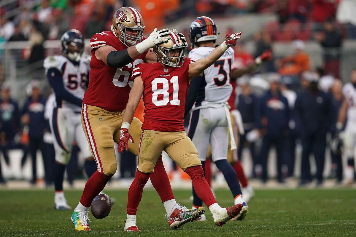 SANTA CLARA, CA - DECEMBER 09: Trent Taylor #81 of the San Francisco 49ers reacts after a first down against the Denver Broncos during their NFL game at Levi's Stadium on December 9, 2018 in Santa Clara, California. (Photo by Robert Reiners/Getty Images)