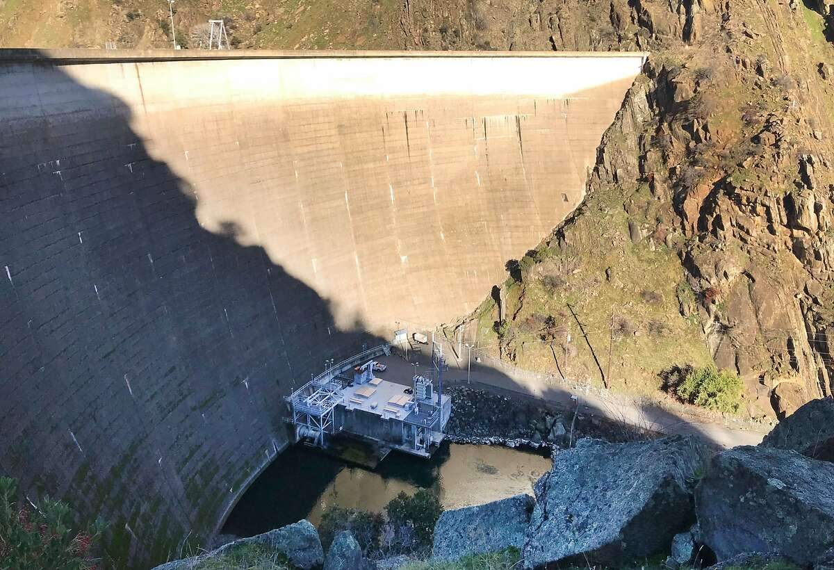 A hydroelectric plant generates power at the base of Monticello Dam at Lake Berryessa near Winters, Calif. on Thursday, Dec. 27, 2018.