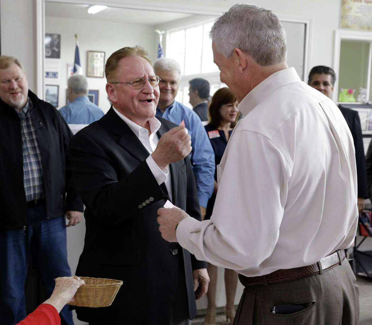 Montgmery County Judge Craig Doyal speaks with state Rep. Mark Keough at the Montgomery County GOP office in Conroe on Dec. 21, 2017. Keough defeated Doyal in the GOP primary for county judge two months later. Now Doyal is leaving office county judge at the end of 2018 after a career in public service.