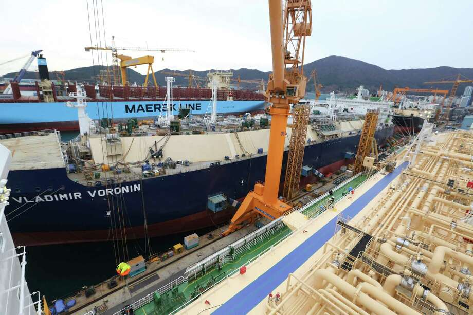 In this Friday, Dec. 7, 2018 photo, construction continues on large-sized liquefied natural gas (LNG) carriers at the Daewoo Shipbuilding and Marine Engineering facility in Geoje Island, South Korea. More than half of the 35 vessels scheduled for delivery in 2018 were LNG carriers. A similar number of vessels are lined up for completion in 2019. (AP Photo/Ahn Young-joon) Photo: Ahn Young-joon / Copyright 2018 The Associated Press. All rights reserved.