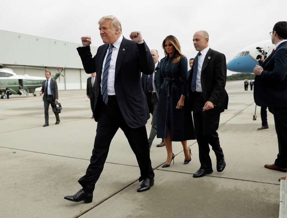 FILE - In this Sept. 11, 2018, file photo, President Donald Trump and first lady Melania Trump arrive at John Murtha Johnstown-Cambria County Airport in Johnstown, Pa. In his first two years in office, Trump has rewritten the rules of the presidency and the norms of the nation's capital, casting aside codes of conduct and traditions that have held for generations. (AP Photo/Evan Vucci, File) Photo: Evan Vucci / Copyright 2018 The Associated Press. All rights reserved.