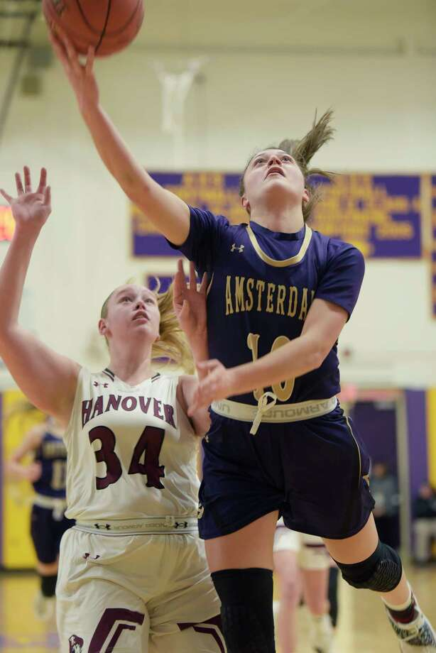Jackie Stanavich of Amsterdam puts up a shot during their game against Hanover in the Amsterdam Holiday College Showcase tournament on Thursday, Dec. 27, 2018, in Amsterdam, N.Y.  (Paul Buckowski/Times Union) Photo: Paul Buckowski / (Paul Buckowski/Times Union)