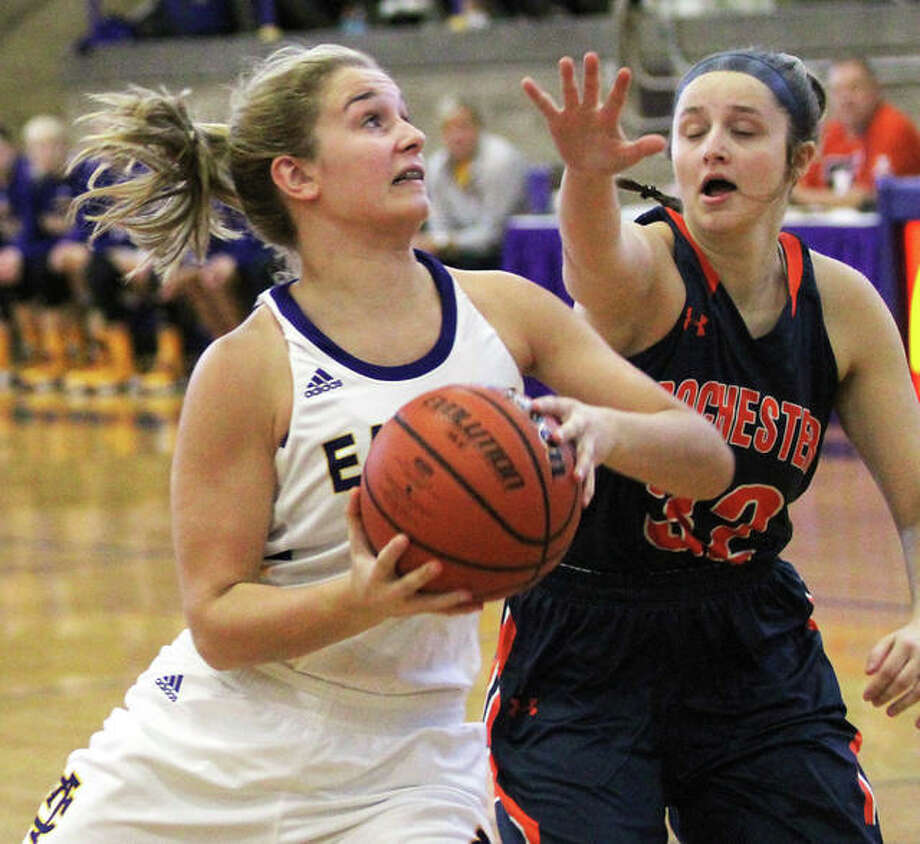 CM's Harper Buhs, shown in action earlier this season, scored 10 points in the Eagles' loss to Rock Island on Thursday night at the State Farm Classic in Normal.