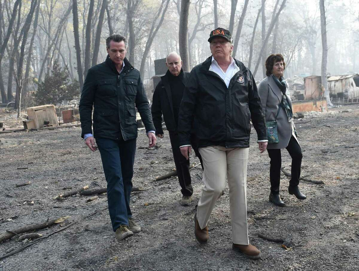 President Trump's visit to the fire-ravaged Butte County town of Paradise was more about politics than helping California.