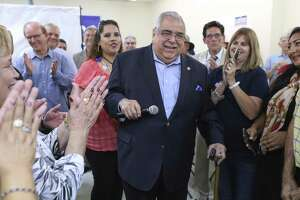 Bexar County Commissioner, Precinct 2 Paul Elizondo thanks supporters after seeing election results in his favor on May 22. He died early Thursday.