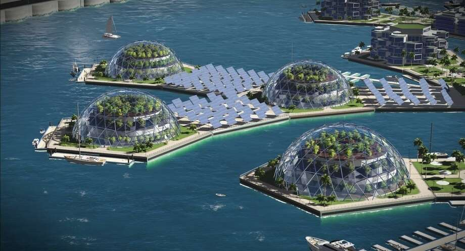 """Floating """"nano nations"""" may be on the horizon as part of the emergence of seasteading, or creating self-sustaining human habitats on the ocean. Photo: Gabriel Scheare, Luke & Lourdes Crowley And Patrick White / Seasteading Institute"""