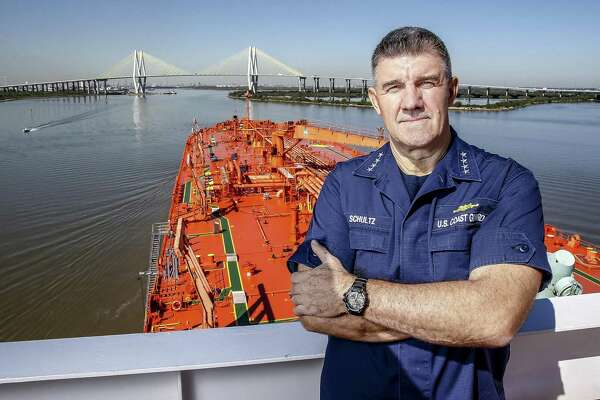 Commandant of the Coast Guard Adm. Karl Schultz poses for a portrait aboard the Bergitta, a crude oil tanker, as it heads up the Houston Ship Channel Friday, Nov. 2, 2018, in Houston.