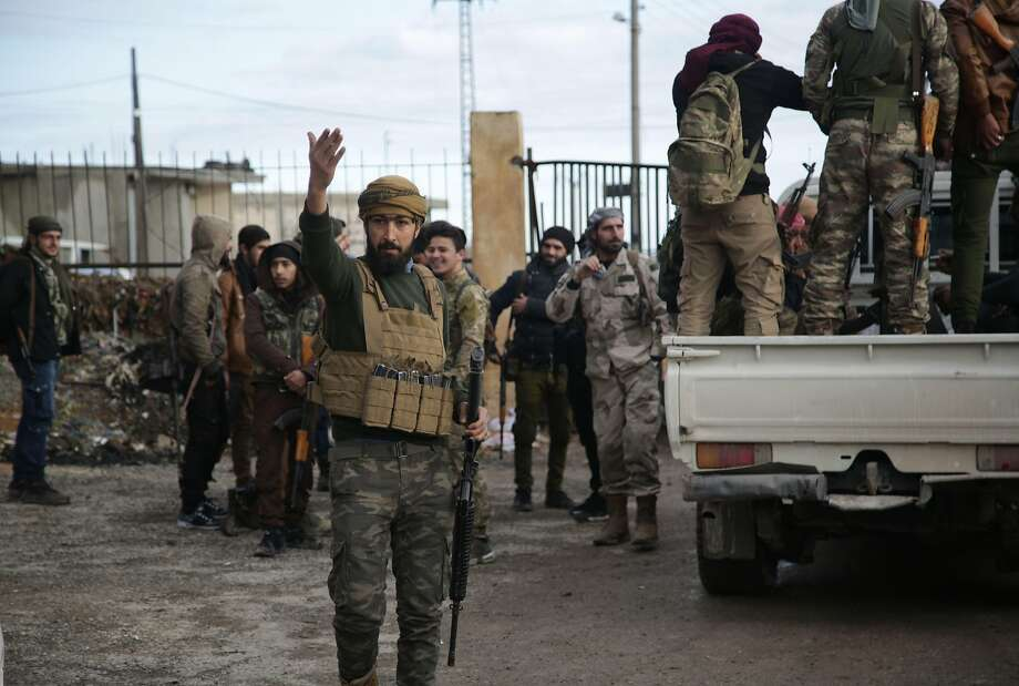 Turkish-backed Syrian fighters are fortifying their positions near the Kurdish-held town of Manbij. Photo: Bakr Alkasem / AFP / Getty Images