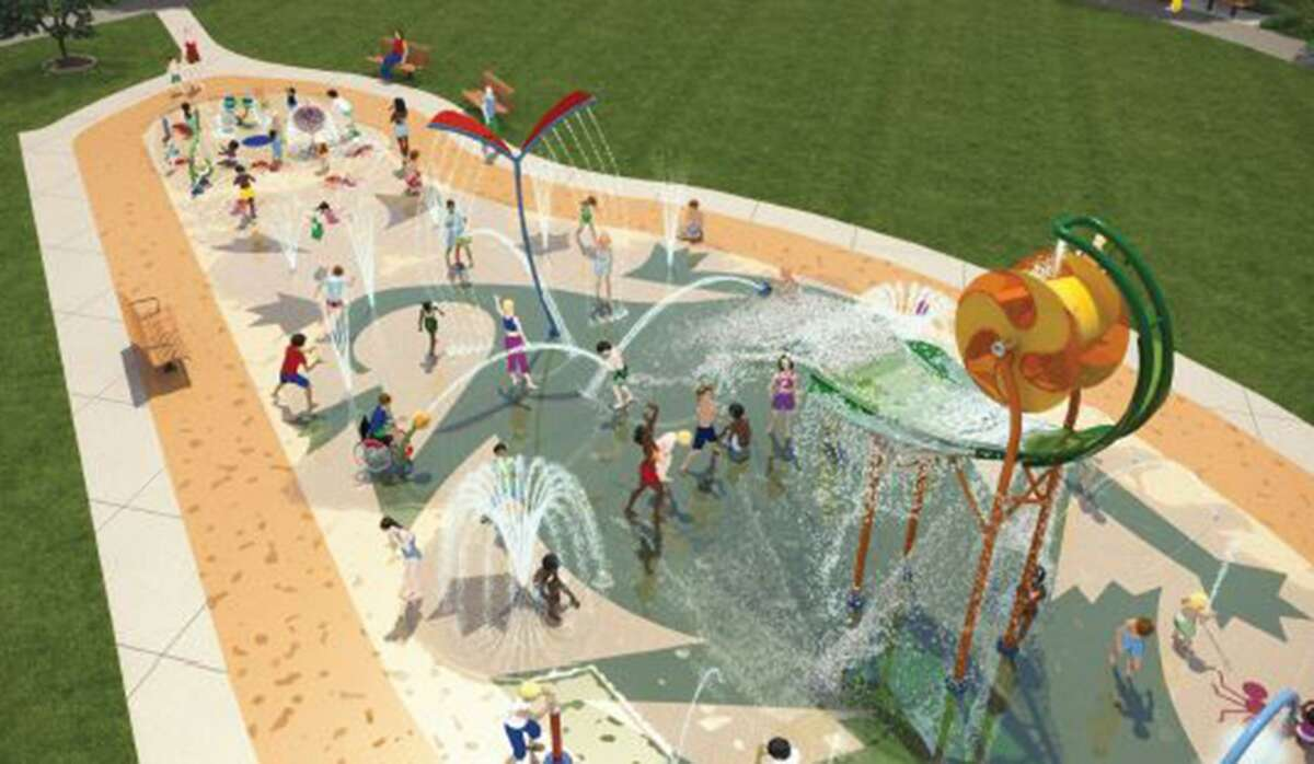 A rendering of a splash pad at the planned Escondido Creek Parkway in Kenedy. The groundbreaking for the parkway was Dec. 20.