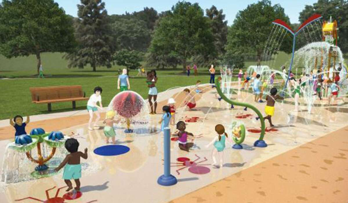 A rendering of a splash pad at the planned Escondido Creek Parkway. The first phase of the project in Kenedy is expected to be completed in summer 2020.