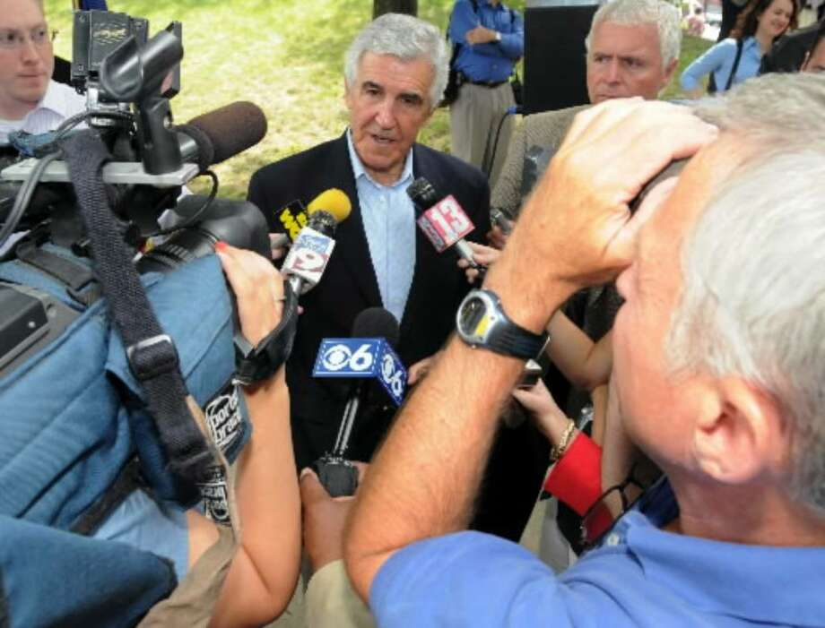 Sen Joseph L. Bruno talks  to the press Thursday, July 17, about plans for the Troy riverfront. Photo: James Goolsby