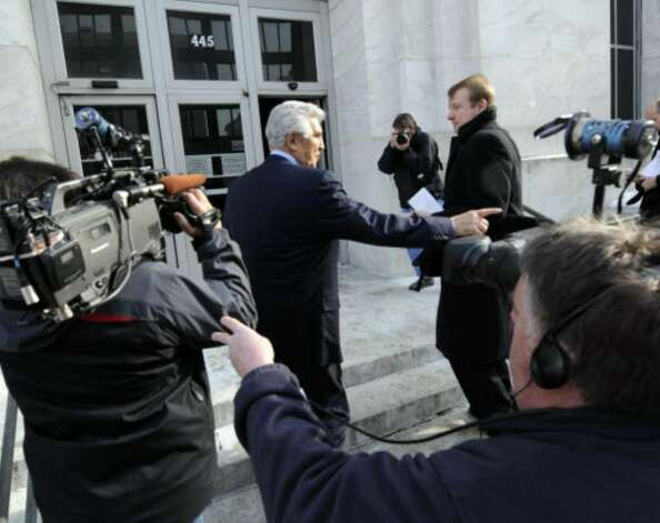 Former Senate Majority Leader Joseph Bruno enters the Federal Courthouse in Albany after his indictment on Friday, Jan. 23. Photo: Skip Dickstein