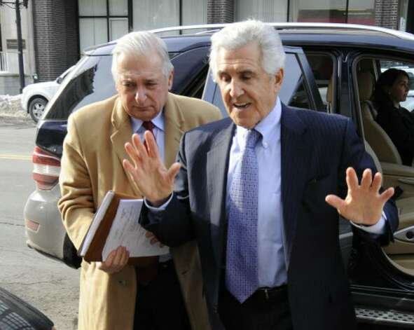 Former Senate Majority Leader Joseph Bruno enters the Federal Courthouse in Albany after his indictment on Friday, Jan. 23, with his lawyer, William Dreyer. Photo: Skip Dickstein