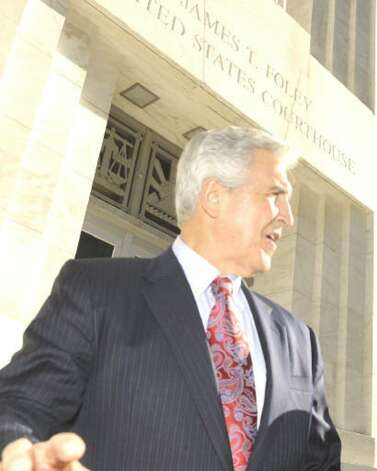 Joseph Bruno leaves the Federal Courthouse in Albany on Oct. 26, 2009, after a brief appearance before his court trial begins on Nov. 2. (Skip Dickstein / Times Union)