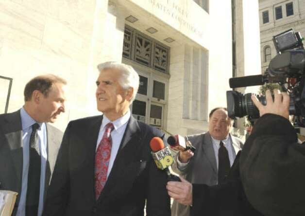 Joseph L .Bruno leaves the federal courthouse in Albany Monday with his lead attorney, Abbe D. Lowell. (Skip Dickstein / Times Union)