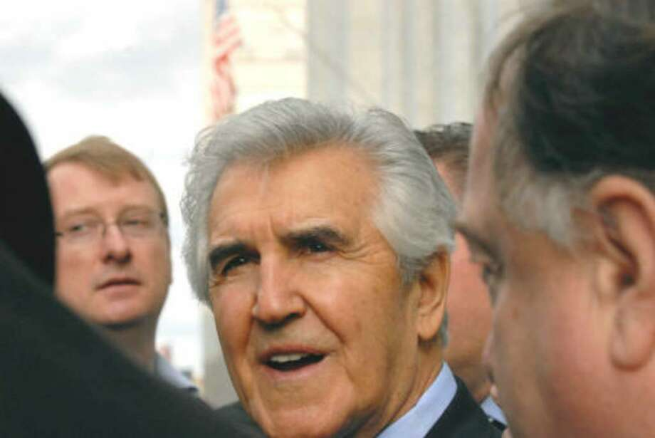 Former state Sen. Joseph L. Bruno speaks to media during his December 2009 trial in Albany. (Michael P. Farrell/Times Union)