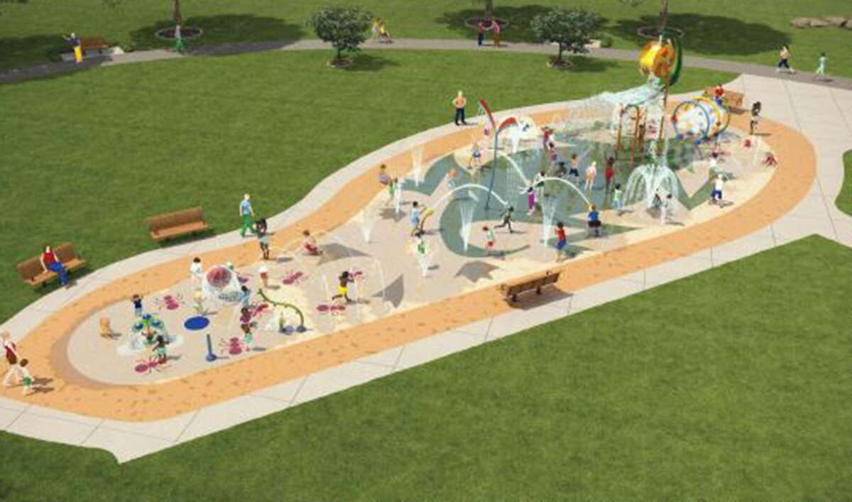 A rendering of a splash pad that will be built as part of the Escondido Creek Parkway in Kenedy.