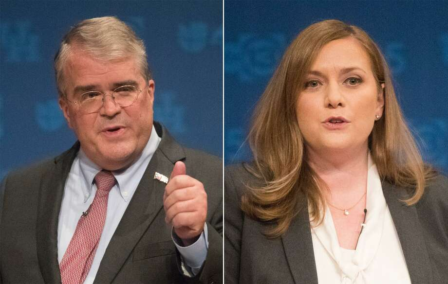 Republican U.S. Rep. John Culberson debates opponent Democrat Lizzie Pannill Fletcher at the University of Houston, Sunday, Oct. 21, 2018, in Houston. Both of them are running for U.S. Congress in Houston's Congressional District 7. Photo: Marie D. De Jesus / Staff Photographer