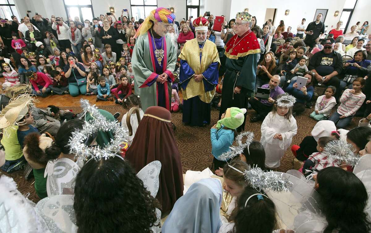 Benigno Fernandez, from left, Jose F. Pascual and Jose Borrero are the Three Kings in a re-enactment of the Nativity during the Puerto Rican Heritage Society's Three Kings Day celebration in 2014 at the AT&T Community Centre at San Fernando Cathedral.