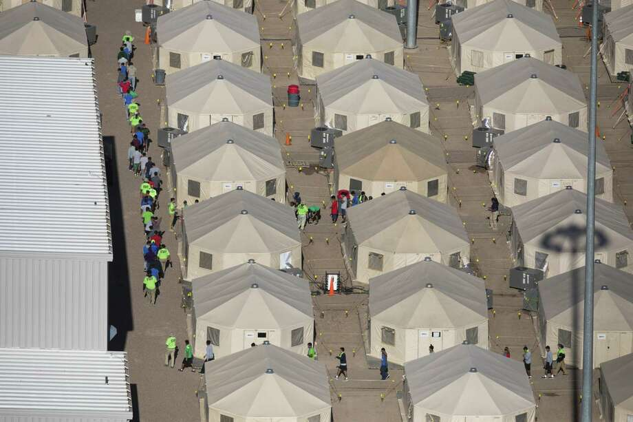 Aerial view of the tent city at the Marcelino Serna Port of Entry, Wednesday, September 12, 2018, in Tornillo. Photo: Ivan Pierre Aguirre, Freelance Photographer / Ivan Pierre Aguirre / Ivan Pierre Aguirre ivan.pierre.aguirre@gmail.com 915.256.2066 EDITORIAL USE ONLY