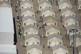 Aerial view of the tent city at the Marcelino Serna Port of Entry, Wednesday, September 12, 2018, in Tornillo. The shelter opened in June and has grown approximately 10 times in size, compared to file photos. Photo by Ivan Pierre Aguirre