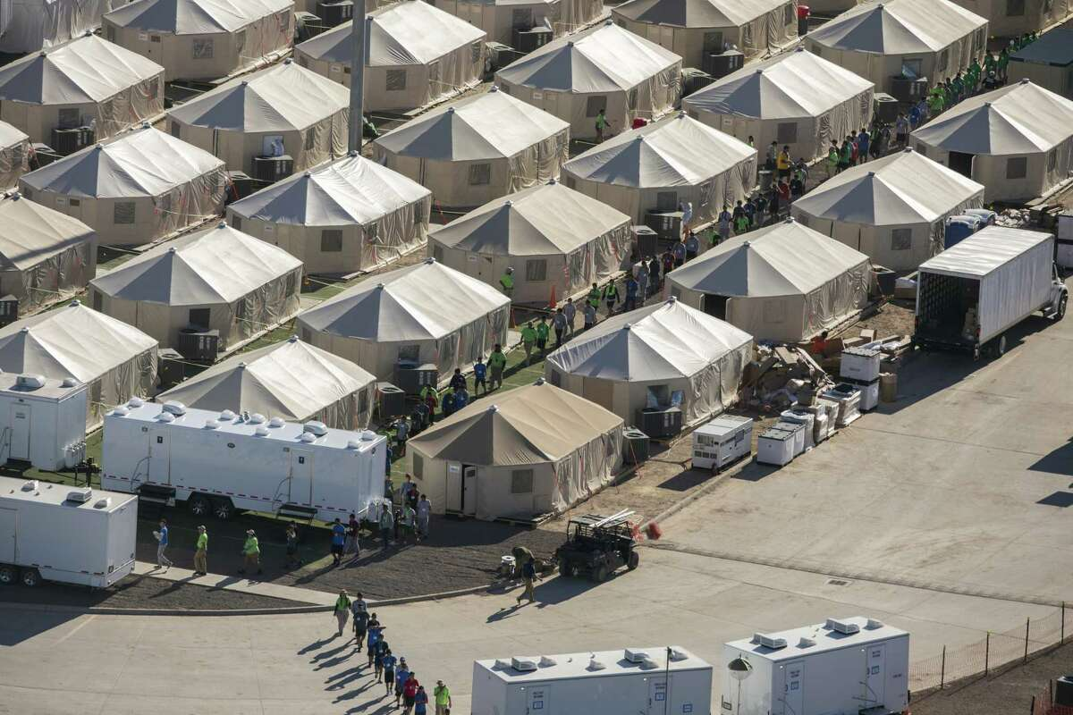 Aerial view of the tent city at the Marcelino Serna Port of Entry, Wednesday, September 12, 2018, in Tornillo.