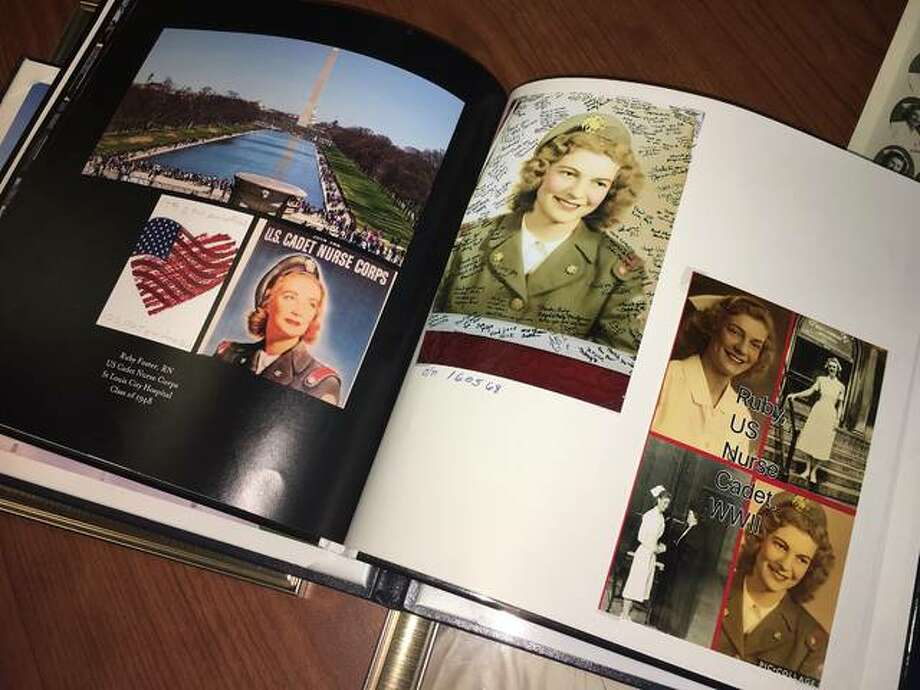 A collage in a book of U.S. Cadet Nurse Ruby Foster's Greater St. Louis Honor Flight experience, compiled by her dear friend Vickie Rodgers, Lewis and Clark Community College's Associate Professor of Nursing. Photo: For The Intelligencer