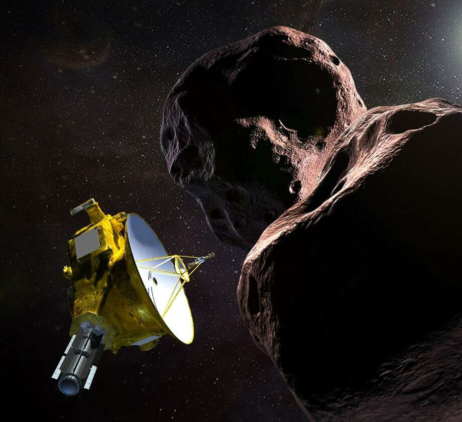 This artist's illustration obtained from NASA on Dec. 21 shows the New Horizons spacecraft encountering 2014 MU69 nicknamed Ultima Thule, a Kuiper Belt object that orbits one billion miles beyond Pluto. NASA's unmanned New Horizons spacecraft is closing in on its historic New Year's flyby target, the most distant world ever studied, a frozen relic of the solar system some four billion miles (6.4 billion kilometers) away. The cosmic object, known as Ultima Thule, is about the size of the US capital, Washington, and orbits in the dark and frigid Kuiper Belt about a billion miles beyond the dwarf planet, Pluto. The spacecraft's closest approach to this primitive space rock comes Jan. 1 at 12:33 a.m. ET (0533 GMT). Until then, what it looks like, and what it is made of, remain a mystery. Photo: HO / AFP /Getty Images / AFP or licensors