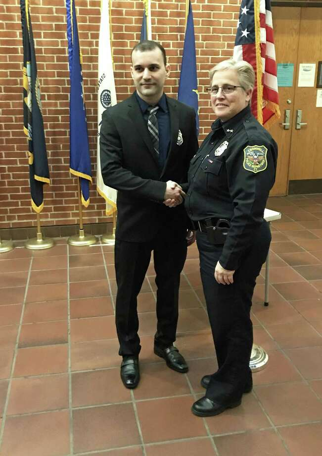 The Cromwell Police Department and Chief Denise Lamontagne welcomed the town's newest officer, Ramon Lima, Friday morning. Photo: Jeff Mill / Hearst Connecticut Media /