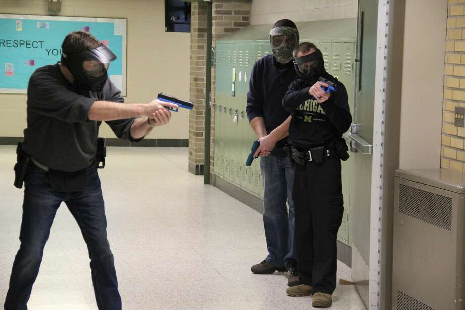 Scenes from the active shooter training, which was held on Thursday and Friday at Elkton-Pigeon-Bay Port High School. Photo: Mike Gallagher/Huron Daily Tribune