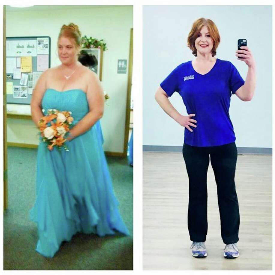 Pictured is a before and after photo of Maxine Rice. On the left is the before image of Rice prior to her journey of losing more than 100 pounds. On the right is a more recent picture of her in some workout gear. Rice is a fitness instructor at Sandy Shores Wellness Center in Pigeon and will be teaching eight-week program to help others with weight loss starting Jan. 7. (Courtesy Photo)