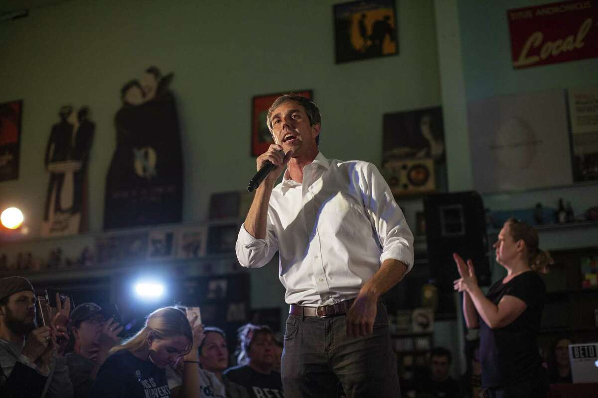 FILE ?- Rep. Beto O'Rourke (D-Texas), the then-candidate for U.S. senator, speaks at a campaign event at Good Records in Dallas, Nov. 3, 2018. In a new Iowa poll of potential Democratic presidential candidates for 2020, O?'Rourke, who lost to Sen. Ted Cruz, finished third, with former Vice President Joe Biden first, and Sen. Bernie Sanders (I-Vt.) second. (Tamir Kalifa/The New York Times)