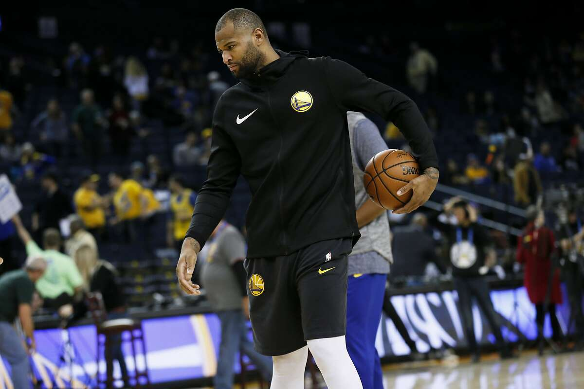 Golden State Warriors center DeMarcus Cousins (0) practices before an NBA game against the Dallas Mavericks at Oracle Arena on Saturday, Dec. 22, 2018, in Oakland, Calif. Cousins is currently on the injury list.