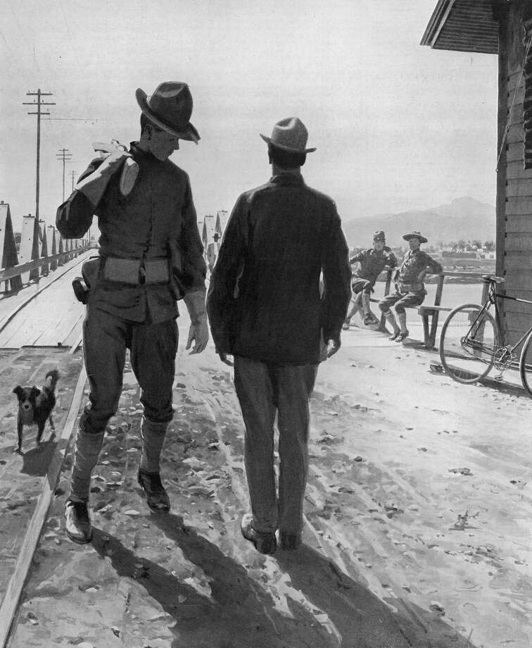 A U.S. cavalryman acting as a border crossing guard in El Paso looks over a Mexican national on his way home during the Mexican Revolution in 1913. Many of stereotypes employed then are seen today at the border. Photo: Time Life Pictures /Getty Images / Time Life Pictures