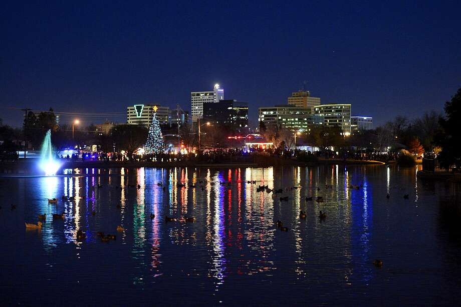 Downtown Midland is seen from the Wadley Baron Park during Christmas time. Photo: James Durbin
