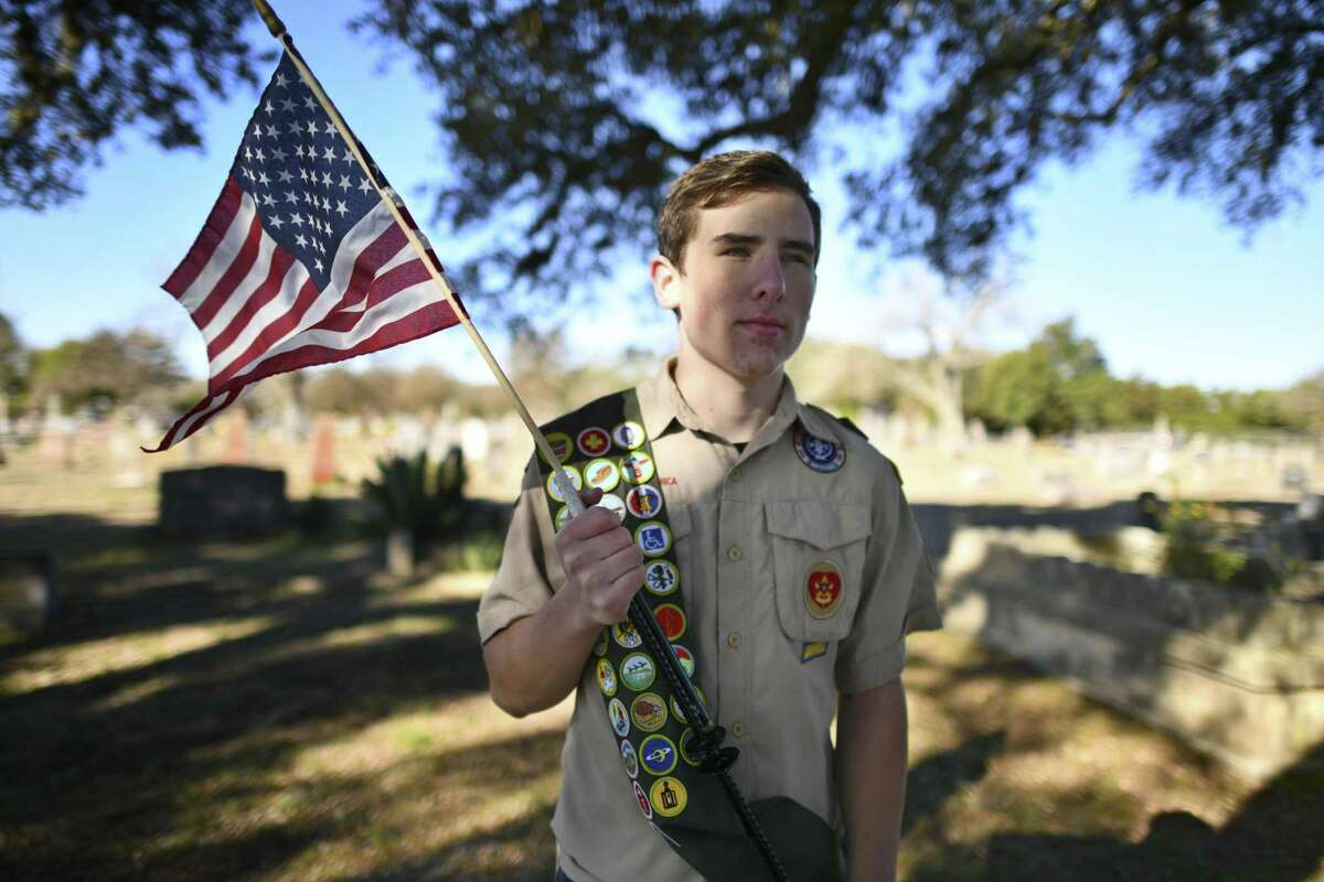 Nathan Burden, 17, has a deep respect for veterans. For his Eagle Scout project, he has designed and obtained material and volunteer support to build flag holders for the graves of military veterans at the Blanco Cemetery.