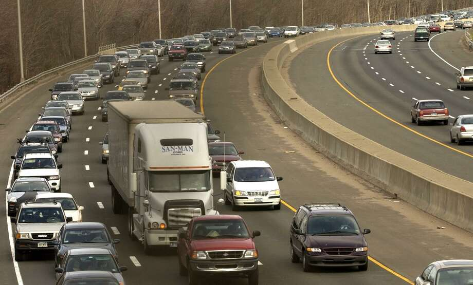 Milford, Connecticut-3/28/04: Interstate - 95 southbound traffic backing up from the exit 38 rerouting to the Merritt Parkway southbound because of the I-95 bridge damage in Bridgport. ©2004 Peter Hvizdak ph0197b