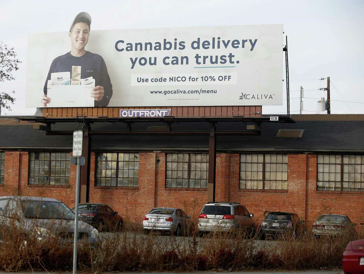 Caliva cannabis delivery billboard on Montgomery Street and Autumn Street is photographed in San Jose, Calif., on Nov. 20, 2018. Uber, Lyft drivers are fleeing to become marijuana-delivery drivers in the new in-demand job in the on-demand economy. Caliva employs more than a hundred drivers.